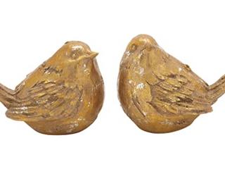 lovely Polystone Gold Bird Set Of 2