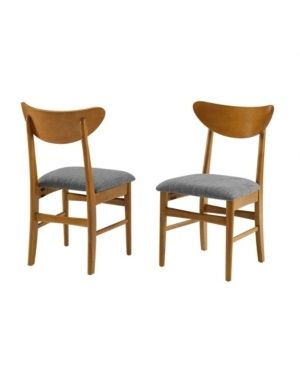 Set of 2 landon Wood Dining Chairs with Upholstered Seat light Brown   Crosley
