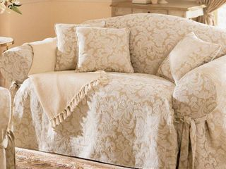 Scroll Sofa Slipcover Champagne   Sure Fit