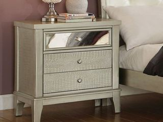 Furniture of America livo Transitional Silver Solid Wood 3 drawer Nightstand Retail 259 99