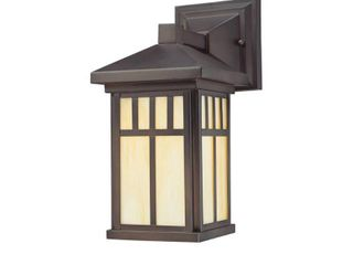 Westinghouse 6732800 Burnham One light Exterior Wall lantern on Steel with Honey Art Glass  Oil Rubbed Bronze Finish