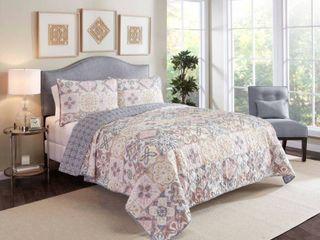 Queen 3pc Torrey Quilt Set Pastel   Marble Hill