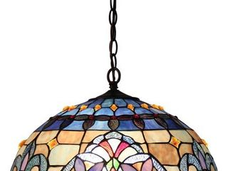 Chloe lighting CH33381VB18 DH2 Tiffany Style Victorian 2 light Ceiling Pendant Fixture 18 Inch Shade  Multicolored