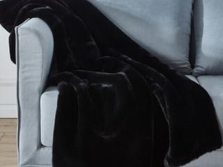 Cassilda luxury Chinchilla Faux Fur Throw Pillow Blk
