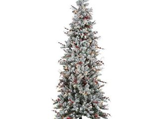 6 5 ft  Memory Shape Snowy Freehold Spruce Pencil Slim Tree with Multicolor lights  Retail 101 49