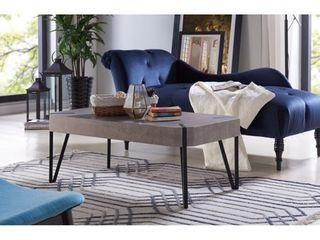 Handy living Dawn Concrete Grey Rectangular Coffee Table with Black Metal legs  Retail 181 99