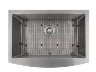 ZlINE Kitchen and Bath ZlINE 30 in  Zermatt Farmhouse Undermount Single Bowl Sink in Stainless Steel  Silver