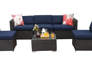 Phi Villa 6 piece Outdoor Rattan Sectional Sofa Set  Retail 730 99