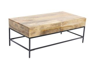 Mango Wood Coffee Table With 2 Drawers  Brown And Black  Retail 346 49