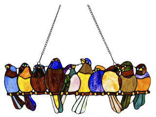 River of Goods Stained Glass Birds on a Wire Window Panel