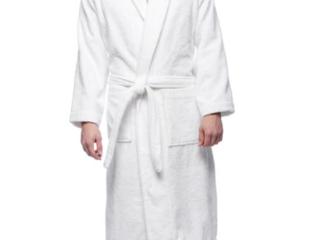 Xl Classic Shawl Collar White Turkish Bathrobe