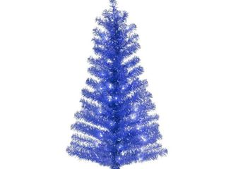 4ft National Christmas Tree Company Blue Tinsel Artificial Pencil Christmas Tree 70ct Clear