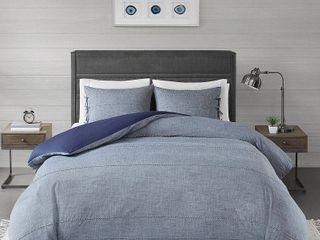 3pc King California King Matteo Cotton Duvet Cover Set Denim Blue