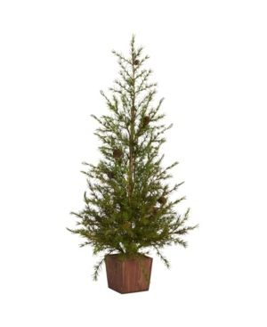 Nearly Natural Alpine  Natural look  Artificial Christmas Tree in Wood Planter with Pine Cones