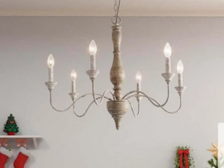 Farmhouse Distressed Handmade Wood Chandeliers French Country 6 lights Kitchen Island lighting Fixture   29 5   29 5   24 4 Retail 281 49