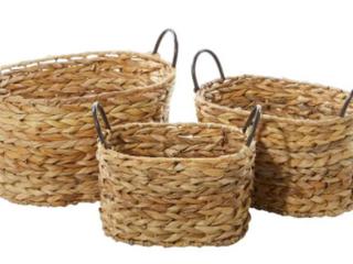 Wicker Storage Basket with Metal Handles  10x13x9