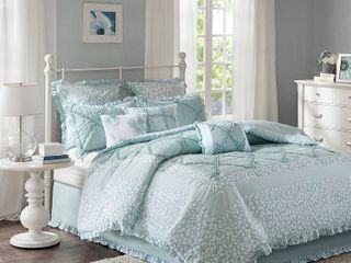 Aqua Gretchen Cotton Percale Comforter Set  Queen  9pc