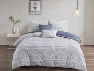 King Cal King Emerson 5pc Cotton Clip Jacquard Duvet Cover Set White Indigo