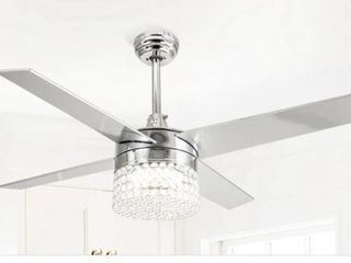 Modern 4 Blades 48 inch Crystal Ceiling Fan   Retail 188 99