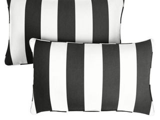 Sunbrella Cabana Classic Indoor  Outdoor Corded lumbar Pillow  Set of 2