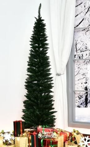 7  PVC Unlit Slim Pencil Hinged Artificial Christmas Tree
