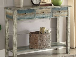 Acme Furniture Glancio Antique White and Teal Oak Console Table  Retail 259 99