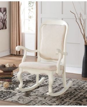 Sharan Antique White Wooden Rocking Chair   Retail 249 06