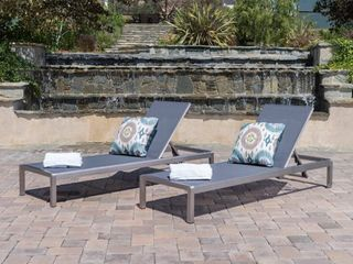 Cape Coral Outdoor Aluminum Adjustable Chaise lounge  Set of 2  by Christopher Knight Home  Retail 461 99