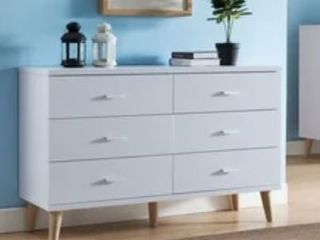 Bridgette Modern White 6 drawer Dresser