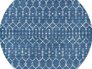 JONATHAN Y Moroccan Hype Boho Vintage Diamond Blue White 5 ft  Round Area Rug