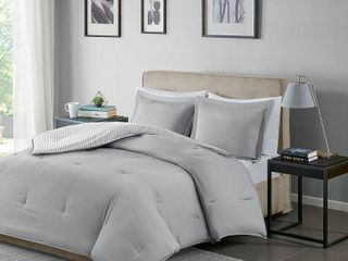Gray Braydon Reversible Stripe Comforter Mini Set Full Queen