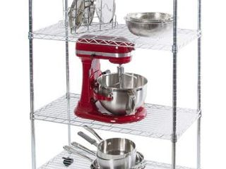 Chrome Plated Metal 4 Tier Wire Shelving