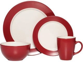 Pfaltzgaff Everyday Red White Round Harmony 16 piece Dinnerware Set