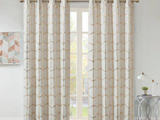 Raina Metallic Print 50  x 63  Total Blackout Curtain Panel