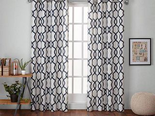 Set of 2 108 x54  Kochi linen Blend Grommet Top Window Curtain Panel Indigo