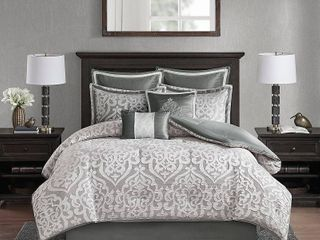 8pc King Eliot Jacquard Comforter Set Silver