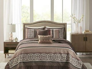 Red Cambridge Jacquard Bedspread Set King 5pc