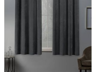 Set of 2 63 x54  Velvet Heavyweight Grommet Top Window Curtain Panel light Gray
