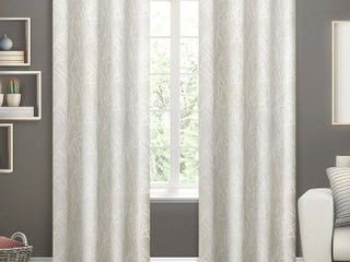Set of 2 108 x54  Twig Insulated Woven Blackout Grommet Top Window Curtain Panel Vanilla
