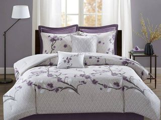 Purple Sakura Cotton Comforter Set  Queen  8pc