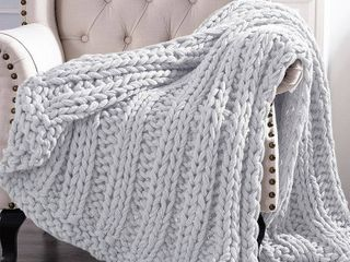 Cottage lane Chunky Knit Acrylic Throw Blanket  50  x 60  Silver