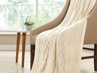 Amrapur Oversized Cable Knit Diamond 100  Cotton Throw Blanket  50  x 70  Antique White
