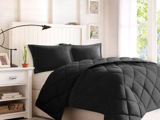 3pc King Windsor Reversible Down Alternative Comforter Set with 3M Stain Resistance Finishing Black