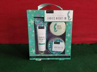 ladies Night In Sea Salt Citrus Shower Gel Bath Fizzer Body Butter Hallu