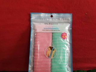ainew Spa Savvy 2 Pack Shower Exfoliating Wash Towels Bath Massage Green Orange