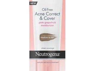 Neutrogena Oil Free Acne Correct   Cover Pink Grapefruit Moisturizer Medium to Tan  1 7 Fl  Oz