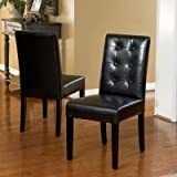 Roland Black leather Dining Chairs by Christopher Knight Home   Set of 2