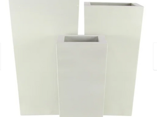 Modern Tall Square White Metal Planters by Studio 350   Set of 3