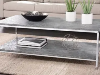 Silver Orchid levico Faux Concrete Cocktail Coffee Table