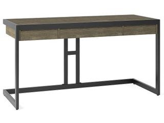 Simpli Home Erina Rectangular Modern Industrial Solid Acacia Wood 2 Drawer Table